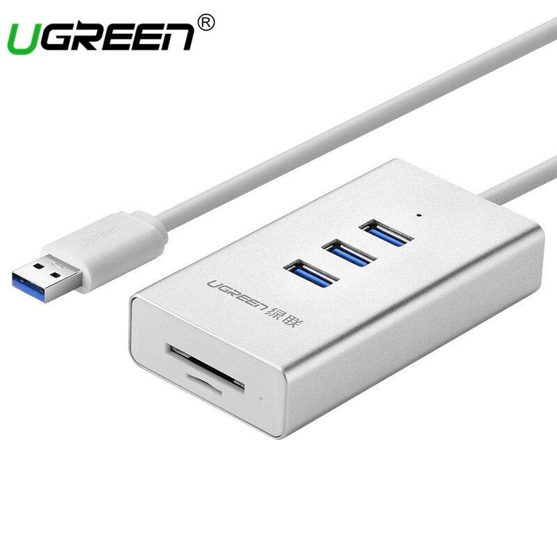 Хаба USB 3.0 Ugreen Card Reader с 3 Порты и разъёмы USB HUB Micro SD Card Reader USB разветвитель для компьютера все в 1 Card Reader USB-хабы