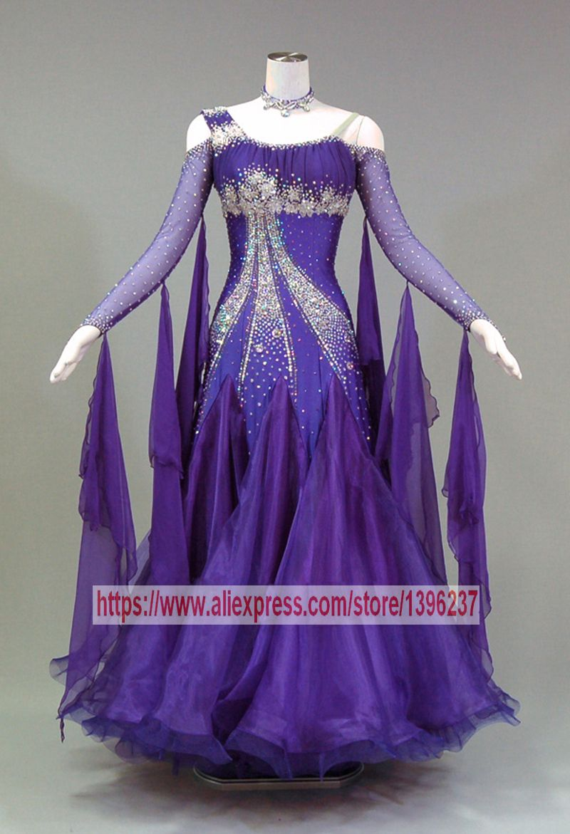 Waltz Dance Dresses Lady Elegant Purple Profession Custom Made Tango Flamenco Modren Ballroom Competition Dancing Dress