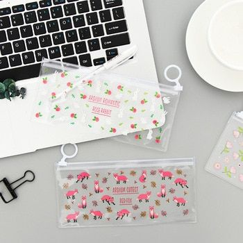Fresh Floral Animal Clear PVC Flat Pen Pencil Bag School Office Supply Stationery Storage Cosmetic Bag