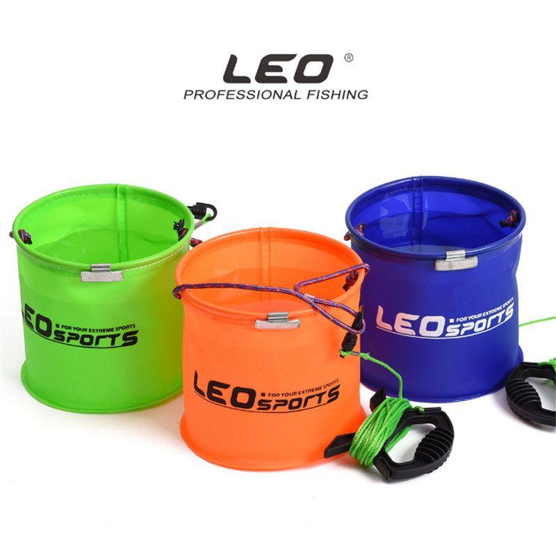 LEO 18x18cm 190g Eva Foldable Water Bucket Fishing Bucket With 5m 32Braid Nylon Rope Outdoor Portable Fishing Tools Water Barrel