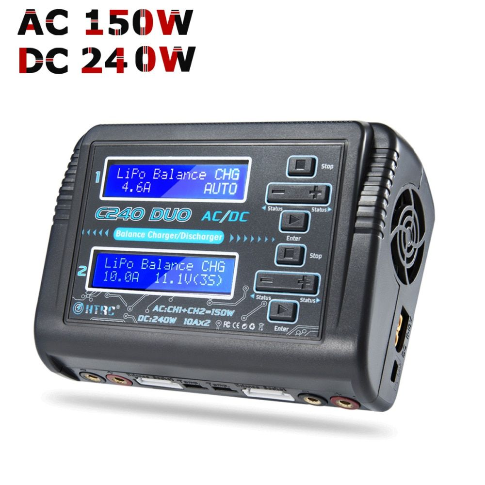 RC LiPo Charger HTRC C240 DUO AC/150W DC/240W Dual Channel 10A Balance Discharger for LiPo LiHV LiFe Lilon NiCd NiMh Pb Battery