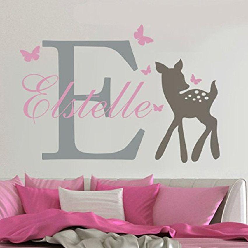 YOYOYU amovible nom personnalisé éléphant papillon Sticker Mural pour enfant bébé chambre Art Mural vinyle Sticker Mural filles chambre décor Y-73