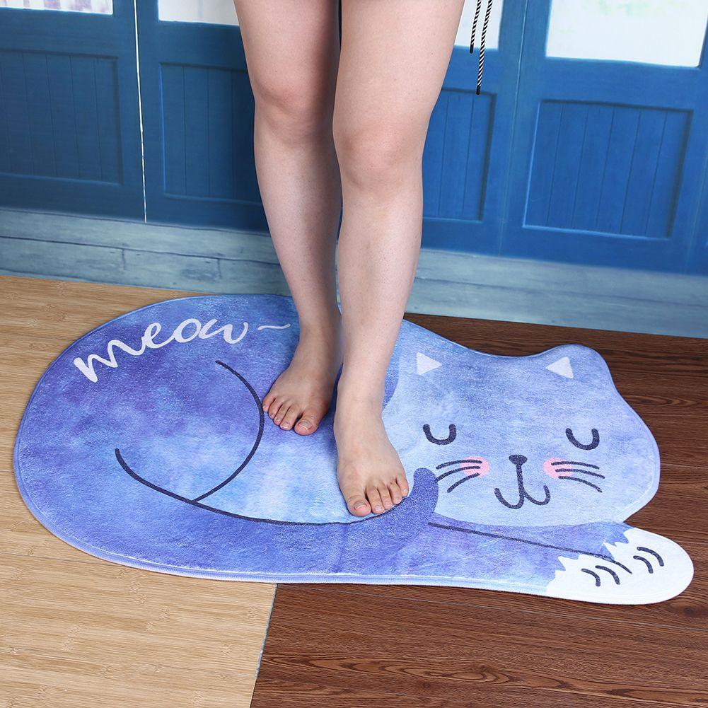 Sleeping Cat Bathroom Mat Set Soft Wool Tea Table Bibulous Antiskid Doormat Bathroom Carpet Mat Home Decor Bathroom Rug