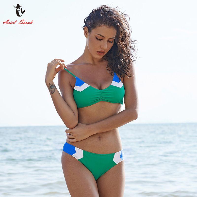 Ariel Sarah Marke Bikini 2017 Neue Bandage Badeanzug-badebekleidung Frauen Patchwork Bikinis Eingestellt Niedrigen Taille Frauen badeanzug BiquiniQ029