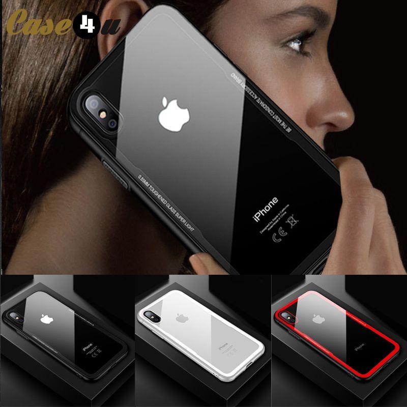 Premium Hybrid Silicone Hard Back Tempered Glass Clear Case for iPhone 7 8 6s Plus X 10 6Plus 7Plus 8Plus Phone Case Transparent