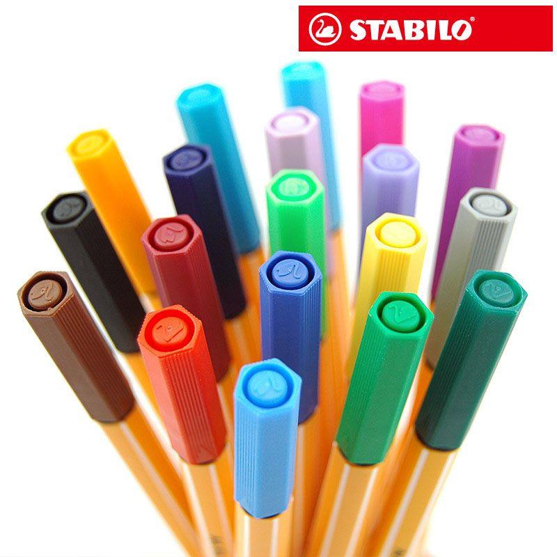 STABILO 25 couleurs Art marqueurs Set croquis dessin marqueurs allemagne Stabilo fine fibre stylo 0.4mm bureau fournitures scolaires