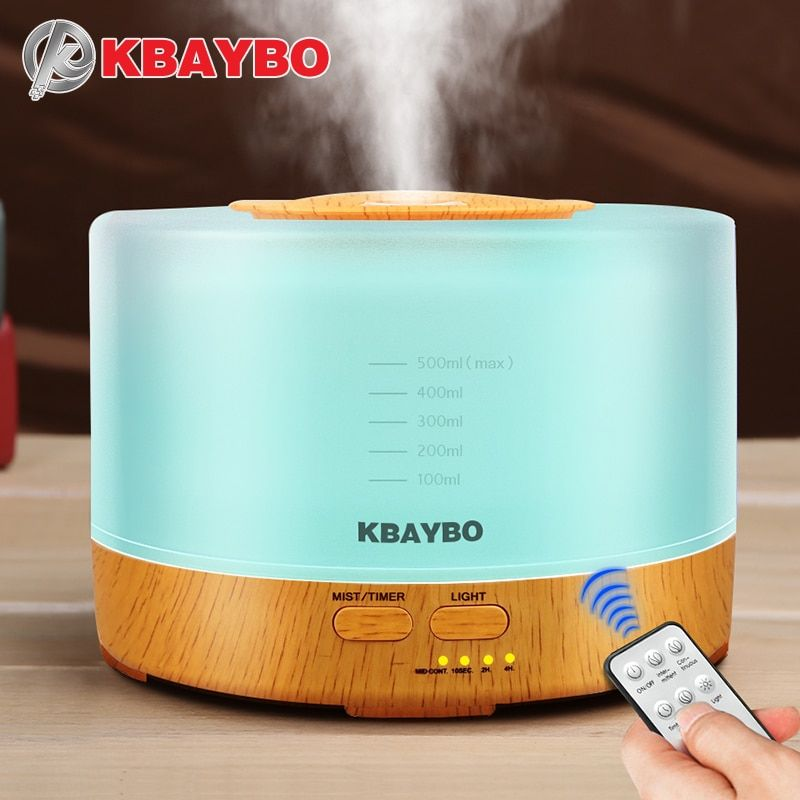 KBAYBO 500ml Ultrasonic Air Humidifier led light wood grain Essential Oil Diffuser aromatherapy mist maker 24V Remote <font><b>Control</b></font>