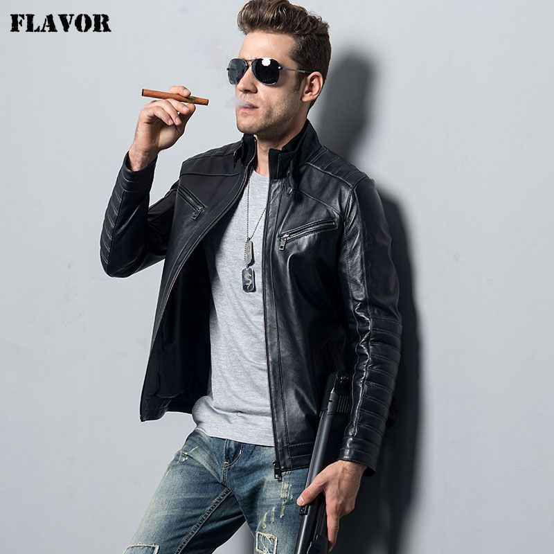 Men's Genuine Sheepskin Leather Jacket motorcycle coat male lambskin Real Leather Bomber jacket