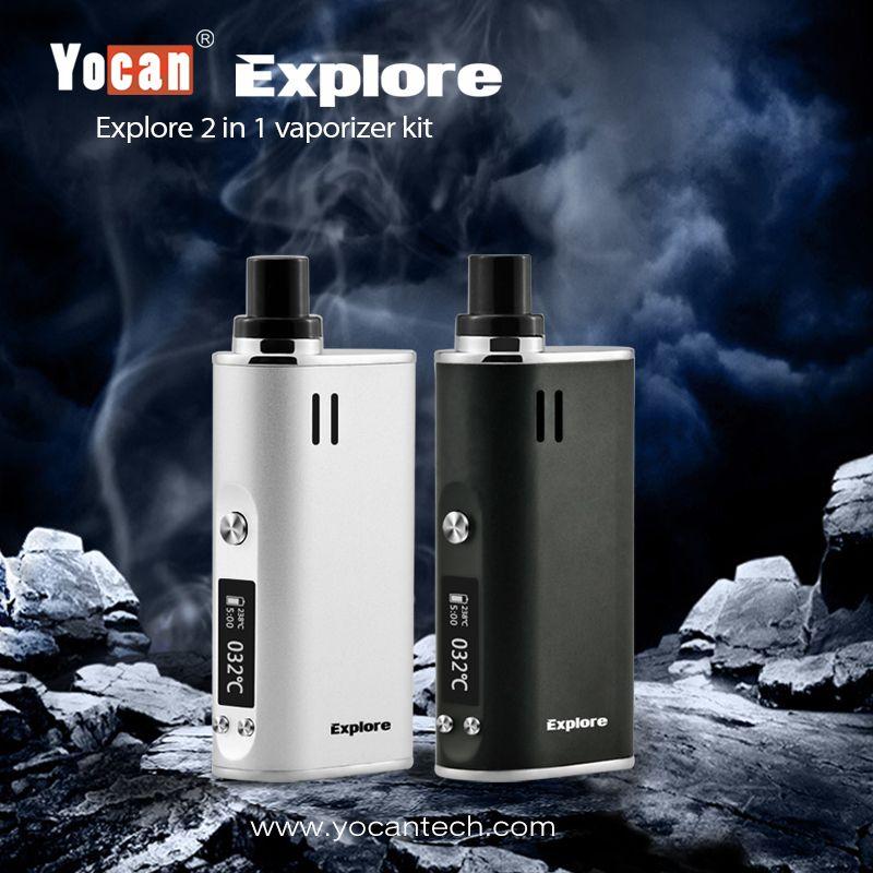 Yocan Erkunden 2-in-1 Wachs und Trockenen Kraut Vaporizer Elektronische Zigarette Kit Mod Box 2600 mAh 18650 Batterie Vape Kit Shisha Feld dampf