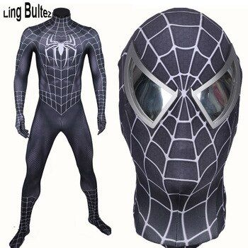 Ling Bultez High Quality New Arrive Muscle Shade Black Spiderman Costume Black Raimi Spider Man Spandex Suit Black Hero Suit