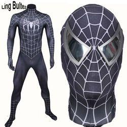 Ling Bultez Kualitas Tinggi Baru Tiba Otot Warna Black Spiderman Kostum Hitam Raimi Spider Man Spandex Jas Hitam Hero Sesuai
