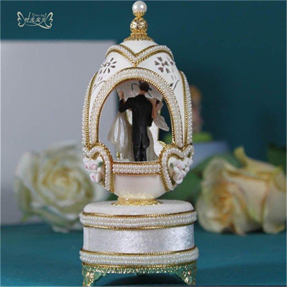 Home Decor Ballerine Boîtes À Musique De Luxe Coquille D'oeuf boîte à musique Musique De Mariage Boîtes Couple Danse du Jour de Valentine Cadeau De Noël