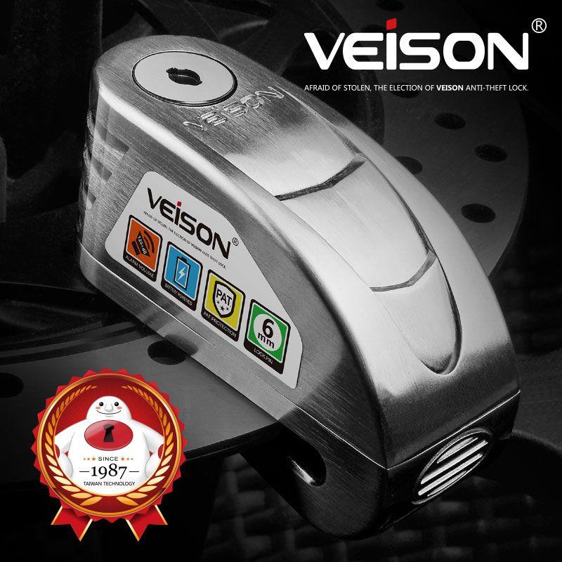 VEISON Moto étanche alarme serrure vélo Steelmate disque verrouillage avertissement sécurité Anti vol frein Rotor cadenas Alarma Moto