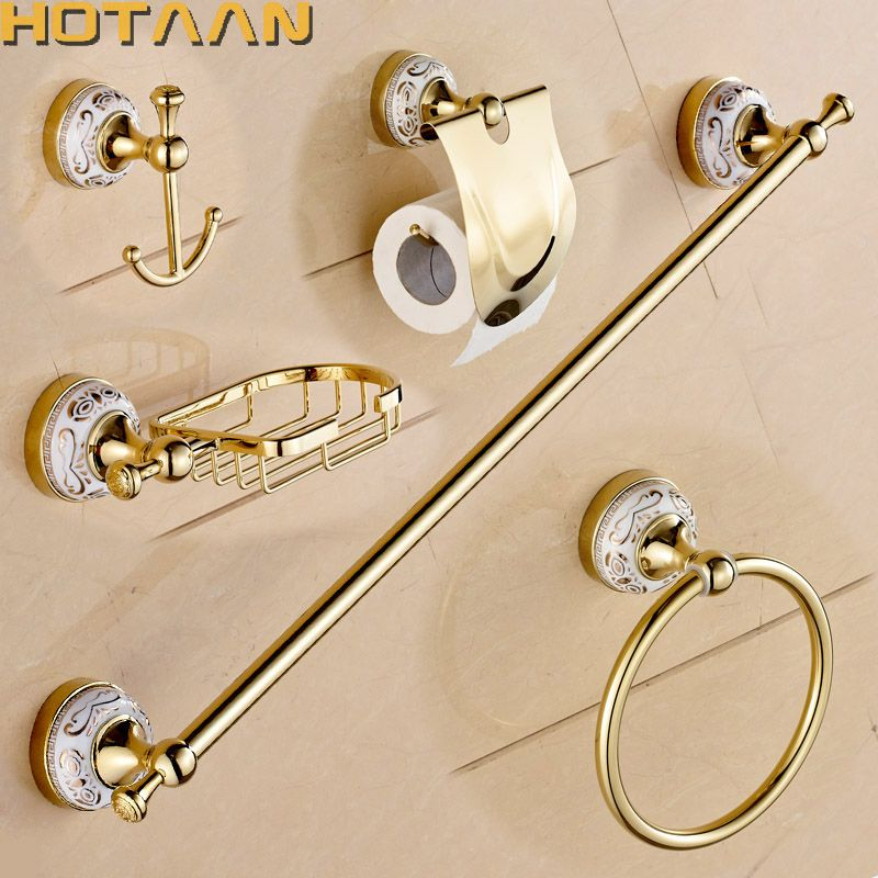Free shipping,Stainless Steel + ceramic Bathroom Accessories ,Paper Holder,Towel Bar,Soap basket,bathroom sets,YT-10200-5