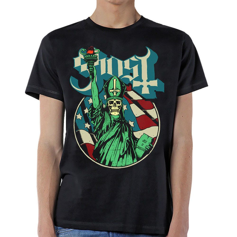 Authentic GHOST B.C. Blue Statue USA Liberty T-Shirt S-3XL NEW Men T Shirt Lowest Price 100 % Cotton Loose Clothes Top Tee