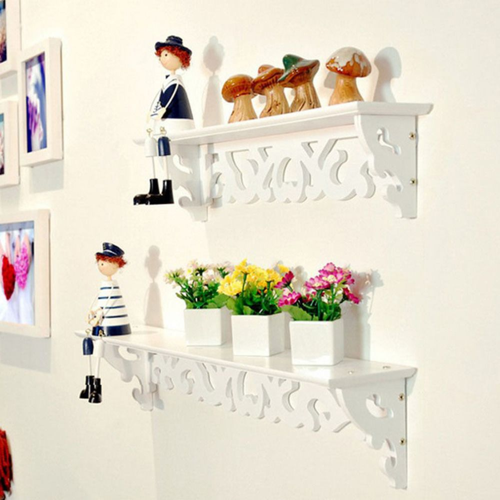 1pc/lot White Wall Hanging Shelf Goods Convenient Rack Storage Holder Home Bedroom Decoration Ledge Home Decor S/M/L