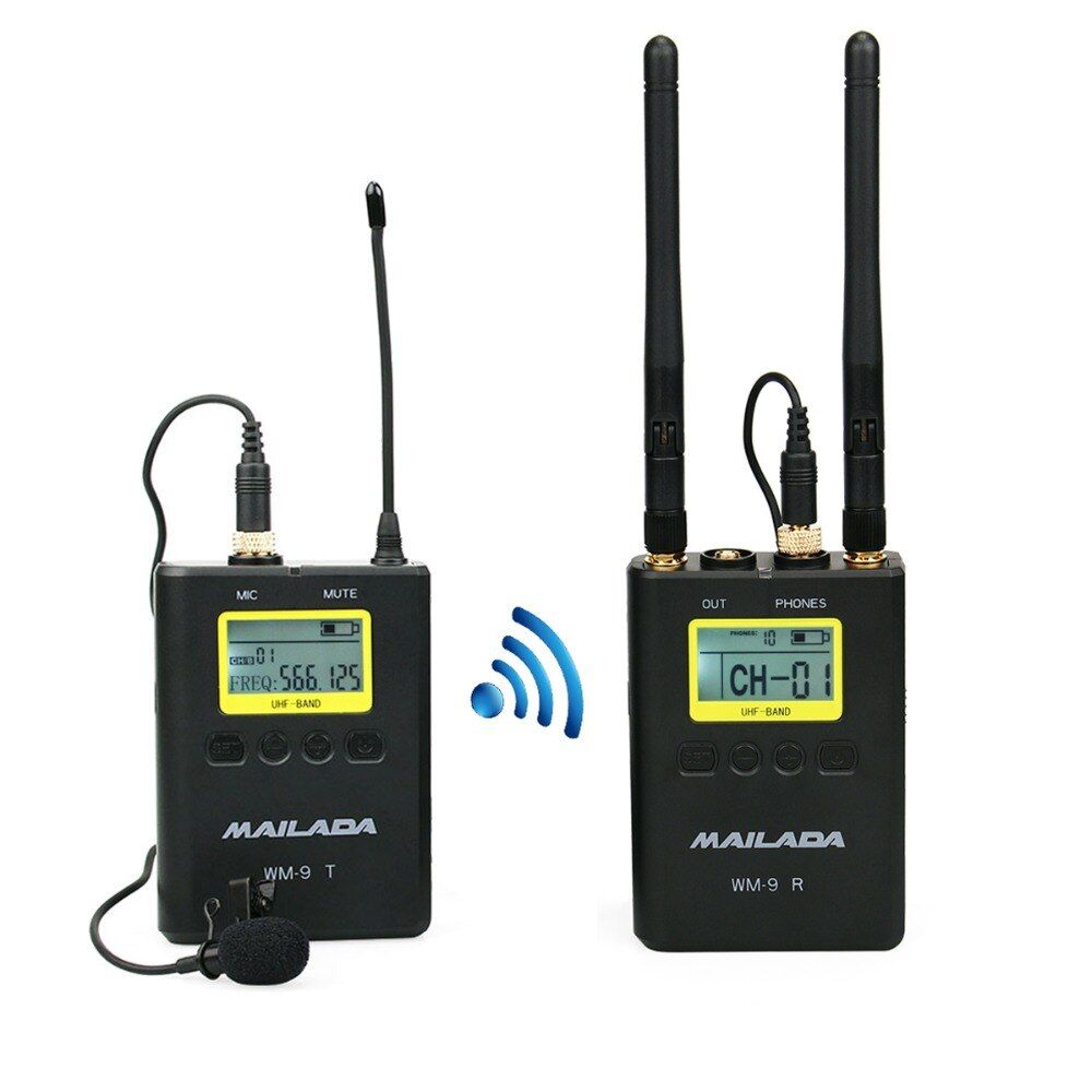 WM-9 Professional UHF Wireless Microphone System 50 Channel Lavalier Lapel Mic Receiver +Transmitter for DSLR Camcorder Recorder