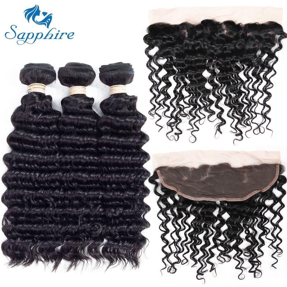 Sapphire Deep Wave Remy Human Hair 3 Bundles With 13*4 Lace Frontal 1B# Color For Hair Salon High Ratio Longest Hair PCT 15%
