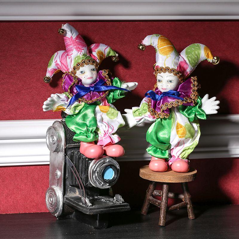 Petite Figurine de poupée de Clown russe pliable en céramique faite à la main Statue de bouffon de cirque décor de noël Souvenir cadeau artisanat ornement