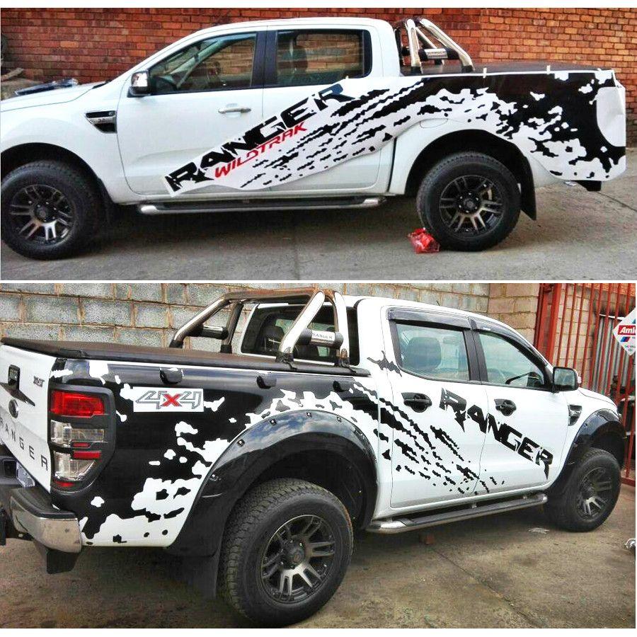 Auto aufkleber 2 pc mudslinger rot wildtrack auto seite körper hinten stamm grafik vinyls auto zubehör decals custom für Ford ranger