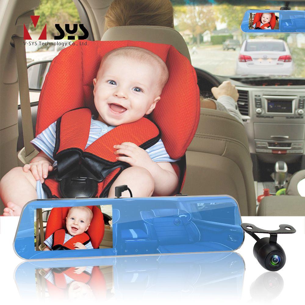 SYS 3CH Rückspiegel DVR Dash Cam Super HD 2 K 1296 P + 720 P + 720 P mit innen Kabine & Hinten Gerichtete Baby Auto Sitz Kamera Monitor