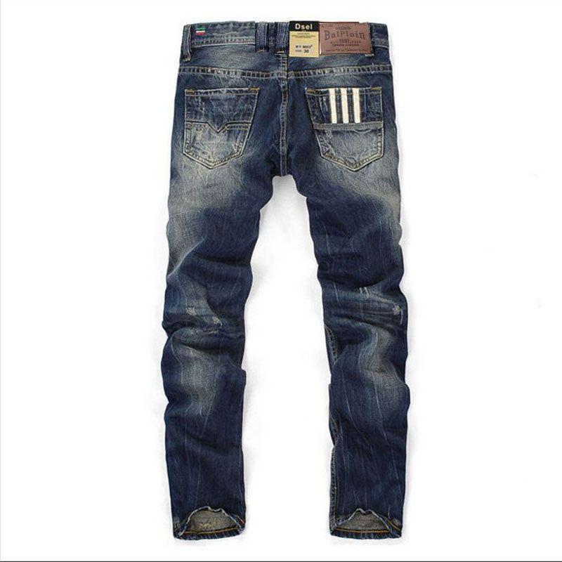 Célèbre marque Balplein créateur de mode Jeans hommes droite couleur bleu foncé imprimé hommes Jeans déchiré Jeans, 100% coton