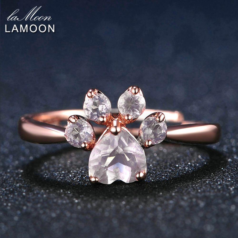 LAMOON Bear's Paw 5mm 100% Natural Pink Rose Quartz Ring 925 Sterling Silver Jewelry  Romantic Wedding Band LMRI027