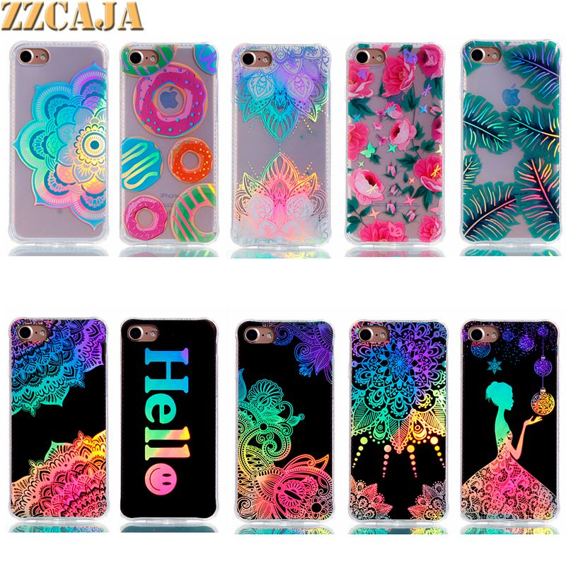 Luxury Bronzing Cover For iPhone 6 6S 5S SE Case Rainbow Pattern PC Board +Soft Frame Beautiful Gilding Press for iPhone 6S Plus