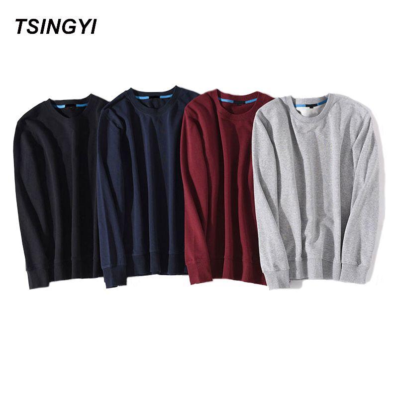 Tsingyi Hot Sale Solid <font><b>Skateboard</b></font> Hoodies Men Women Spring Autumn O-Neck Long Sleeve Cotton Sudadera Poleron Hombre Sweatshirt