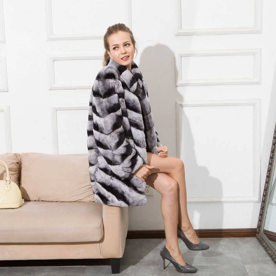 CNEGOVIK 2016 chinchilla fur coats for women