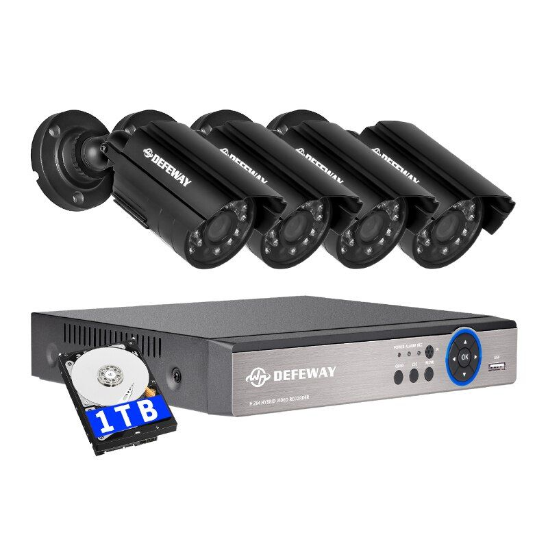 DEFEWAY 8CH DVR 720P HDMI Security CCTV System Video Recorder 4PCS 1200TVL Home Security Waterproof Night Vision Camera 1TB HDD
