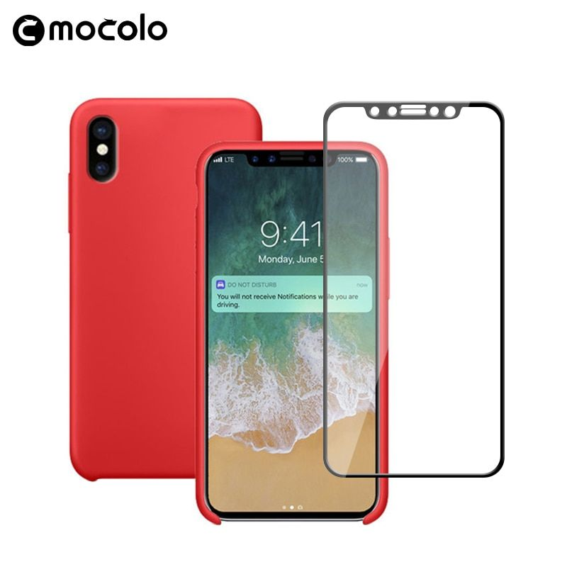 New Full Cover 3D Curved Tempered Glass Screen Protector and Soft Liquid Silicon Anti-drop Ultra Slim Phone Case for iPhone X 10