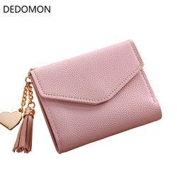 2017 mujeres de la manera de la muchacha Mini borla corto monedero tarjeta de crédito titular organizador bolsillo sólido clásico nuevo 2 veces tipo
