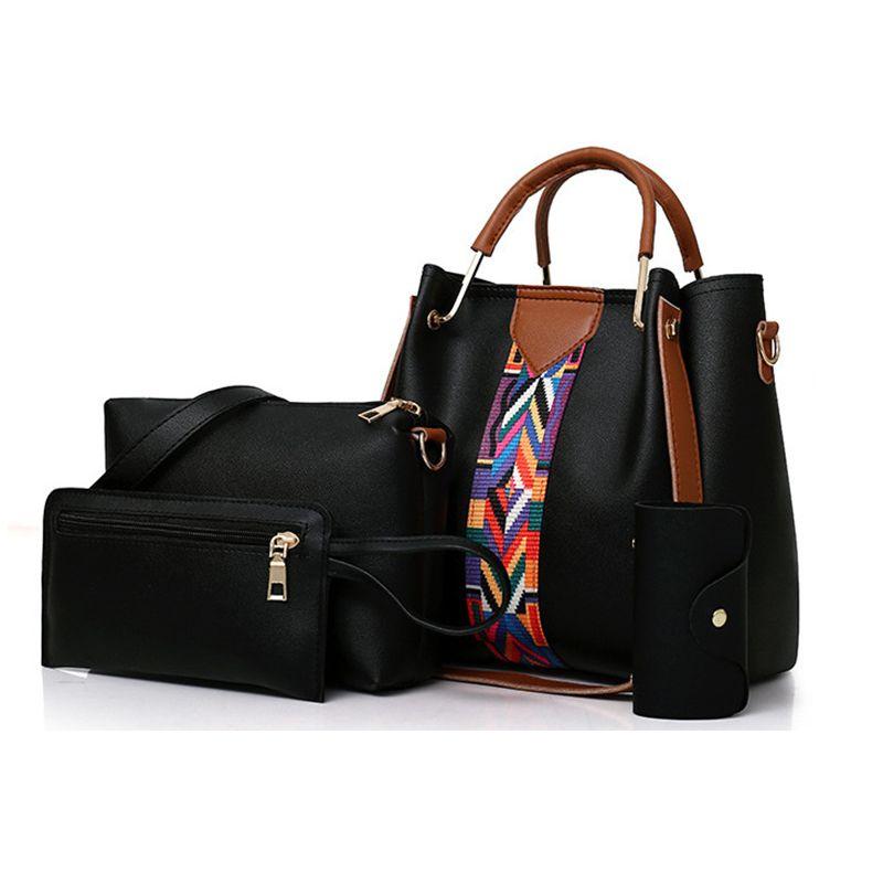 Dropshipping 4PCS Set Purses and Handbags PU Leather Striped Shoulder Bags for Women Fashion Top-Handle Bags Female Shoulder Bag
