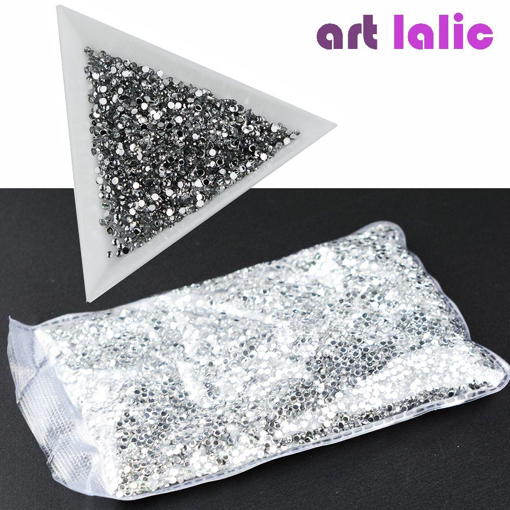 20000 stücke 1,5mm Neue Glitter Kristall Flache Rückseite Rhinestones Nicht Hot Fix 3D Nagel Dekorationen Acryl UV Gel Tipps Nail art