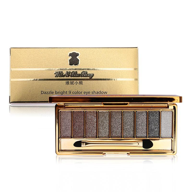 9 couleurs brillant diamant Nude Smoky Maquillage fard à paupières Palette Maquillage Set ombre à paupières Maquillage professionnel cosmétiques avec brosse
