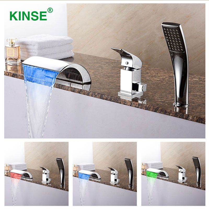 KINSE Brass Material Chrome Finish LED Bathtub Faucet Three Pieces Waterfall Faucet Mixer with Hand Shower