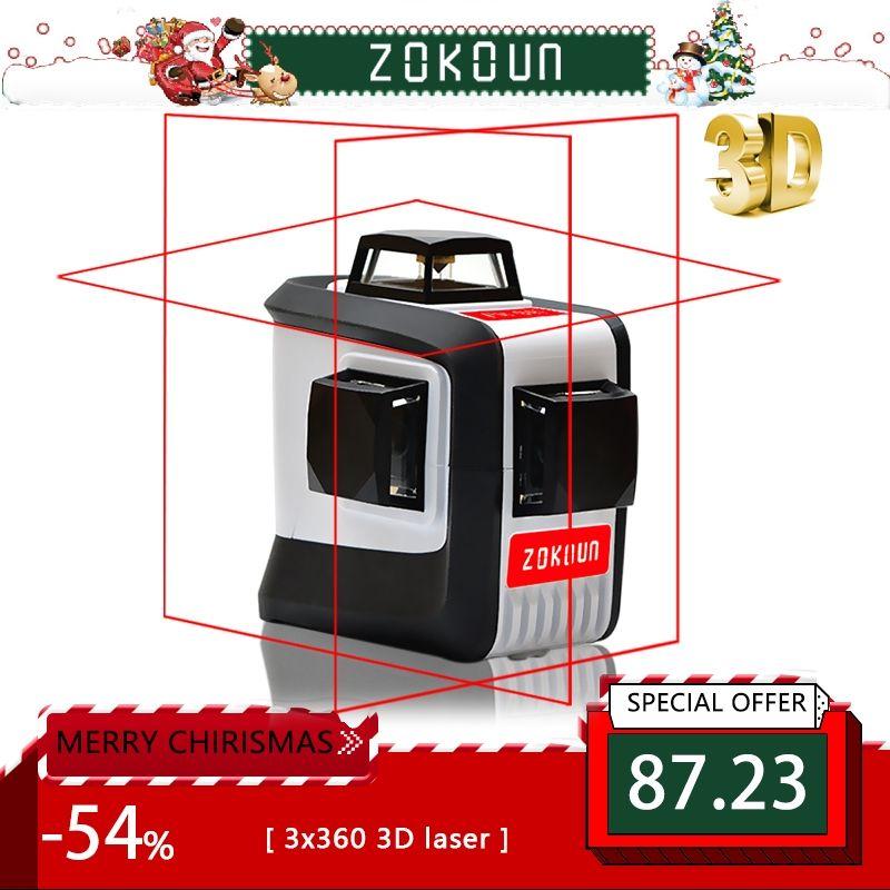 ZOKOUn 12 Lignes 3D 94 T Auto-Nivellement 360 Horizontal Et Vertical Croix Super Puissant Rouge Faisceau Laser niveau Laser de ligne