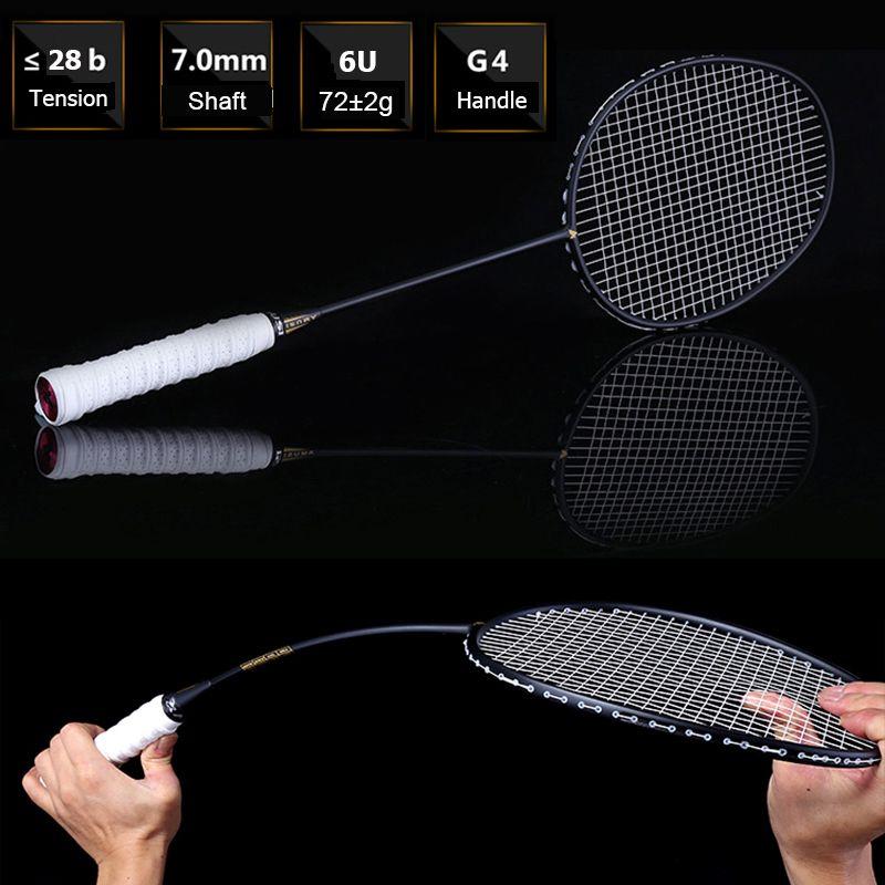 LOKI Ultraleicht 6U 72g Aufgereiht Badminton Schläger Professionelle Carbon Badminton Schläger 22-28 LBS kostenloser Griffe und Armband