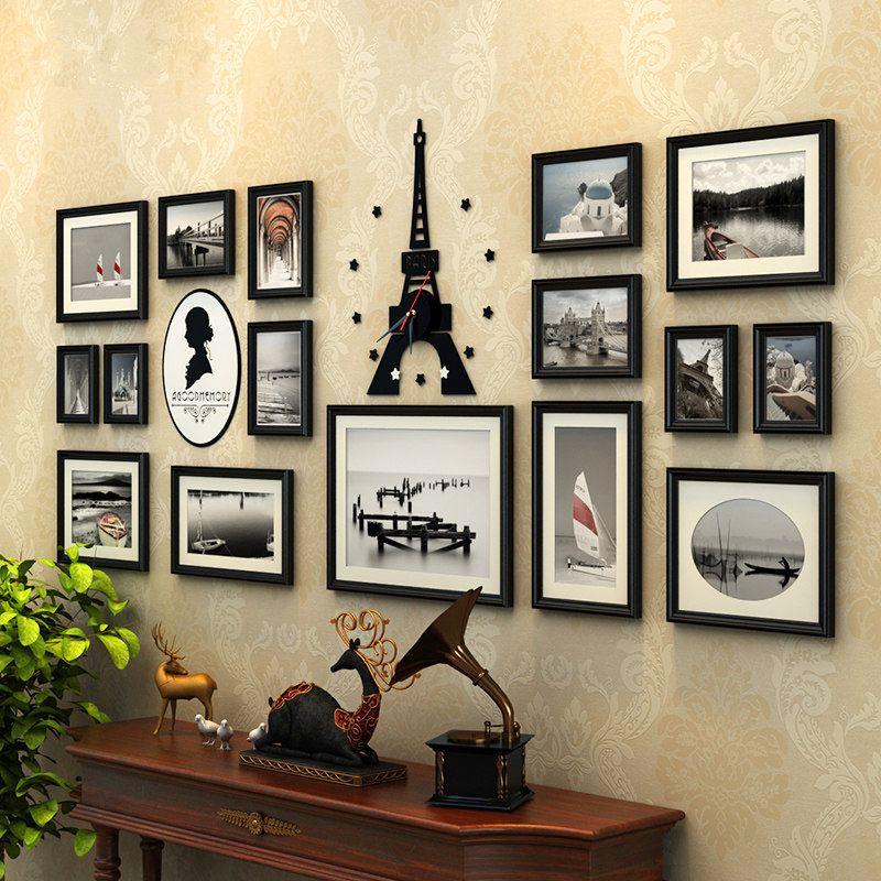 16 pcs/set Picture Frames Wooden Photo Frame Set with Acrylic Tower Clock,Moldura Para Quadros De Parede,Wall Photo Frame Family