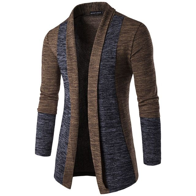 2017 New Men'S Fashion Fight Color Cardigan Leisure Cotton Knitted High-Quality Slim Knit Long Long-Sleeved Shirt