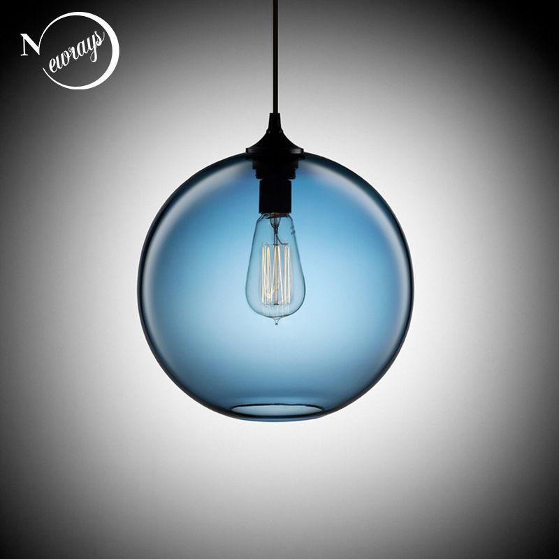 Loft Vintage Antike Industrielle 6 Farbe Glas Ball Anhänger Lichter Leuchten für Küche Restaurant Esszimmer/Wohnzimmer Cafe Bar