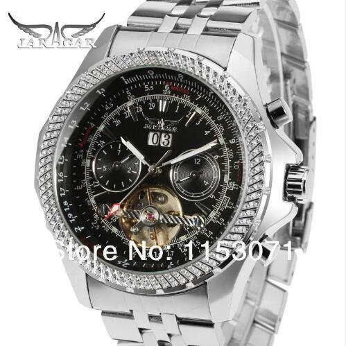 JARAGAR Mens Watches Tourbillon Male Clock Stainless Steel Band Mechanical Wristwatch Horloges Mannen