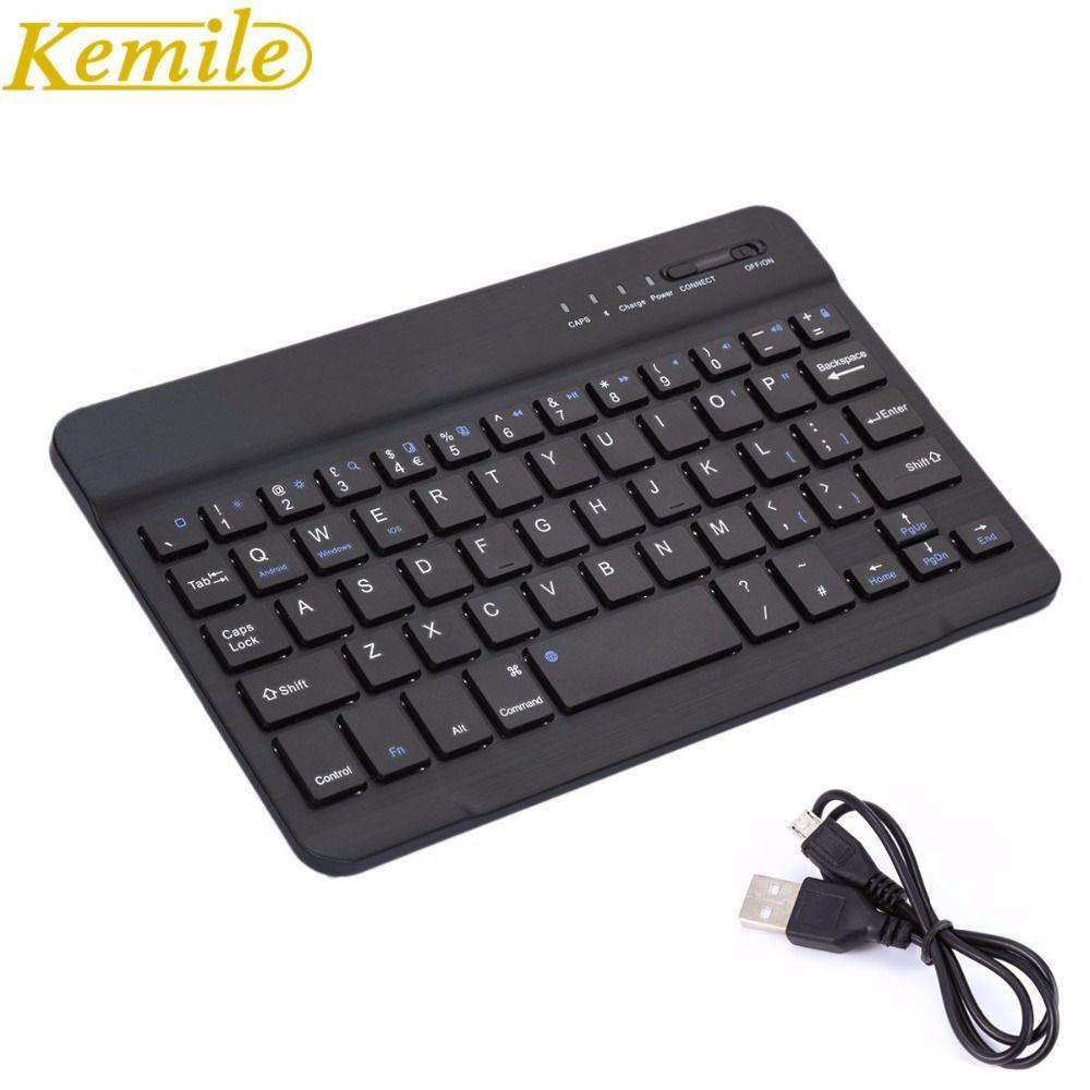 Kemile Ultra Mince Portable Sans Fil Bluetooth Clavier En Aluminium avec Micro Port de Charge pour IOS Android Windows Tablet PC