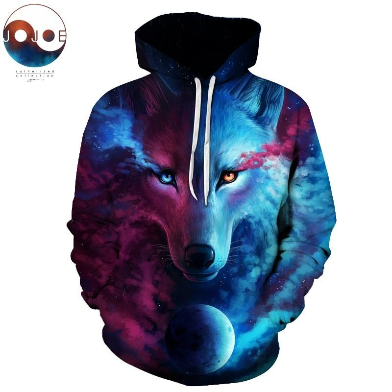 Where Light And Dark Meet by JoJoesart <font><b>Wolf</b></font> 3D Hoodies Sweatshirts Men Women Hoodie Casual Tracksuits Fashion Brand Hoodie Coats