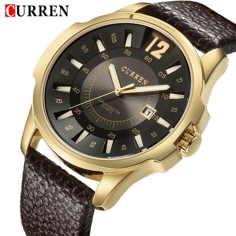CURREN Luxury Brand Men Casual Sport Watches Mens Leather Waterproof Quartz Watch Man <font><b>Business</b></font> Date Wristwatch Relogio Masculino