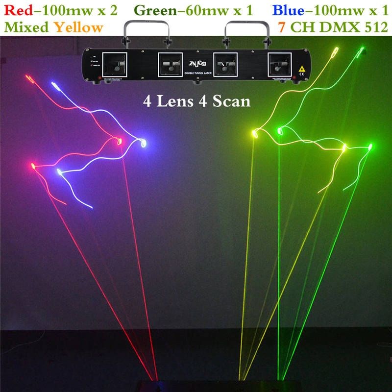 AUCD 4 Lens RGBY Laser 7CH DMX DPSS Scanner Equipment Stage Lighting Projector DJ Party Disco Show Professional Lights DL55C+
