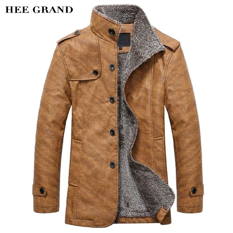 HEE <font><b>GRAND</b></font> Men's PU Leather Jackets & Coats New Arrival Winter Thick Casual Jaqueta Masculino M-4XL Size 2 Colors MWJ564