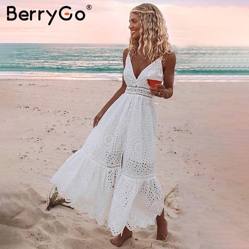 BerryGo blanc perles sexy femmes robe d'été 2019 évider broderie maxi coton robes soirée longue dames robes