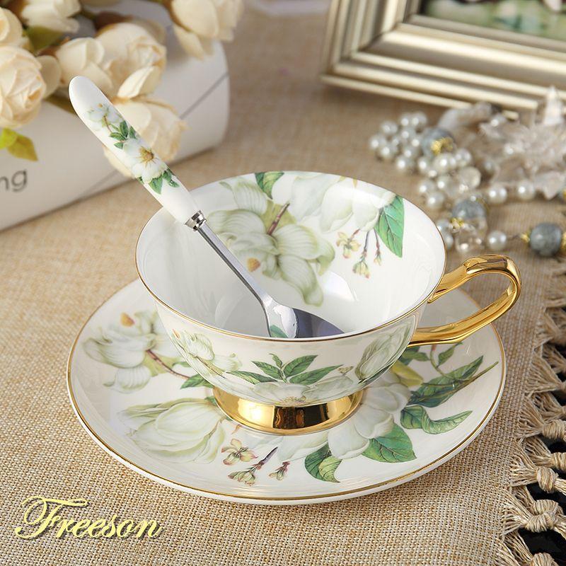 Британский Благородный камелии костяного фарфора Кофе чашки Керамика Чай чашка с блюдцем ложка 200 мл Cafe Расширенный фарфор Чай чашки